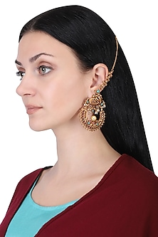 Gold plated turquoise and red stone earrings by Anjali Jain