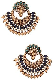 Gold plated peacock chandbali earrings by Anjali Jain
