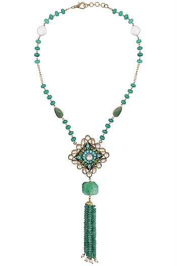 Gold plated kundan and meena pendant necklace by Anjali Jain