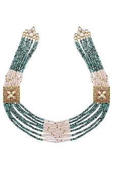 Gold plated kundan, pearl and agate stone necklace by Anjali Jain