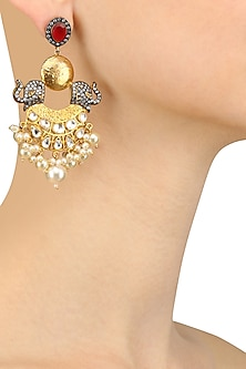 Gold Finish Ruby Stone Elephant Design Chandbali Earrings by Anjali Jain