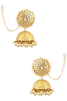 Gold Finish Kundan and Pearl Textured Jhumki Earrings by Anjali Jain