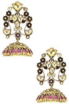 Gold Plated Kundan and Pink Semi Precious Stone Jhumki Earrings by Anjali Jain