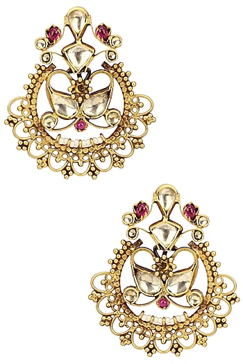 Gold Plated Kundan and Pink Semi Precious Stone Earrings by Anjali Jain