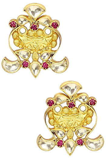 Gold Plated Semi Precious Stone Floral Earrings by Anjali Jain