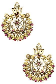 Gold Plated Kundan Stone Floral Round Earrings by Anjali Jain