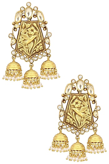Gold Plated Three Jhumki Drop Earrings by Anjali Jain