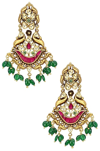 Gold Plated Kundan and Semi Precious Stone Bird Earrings by Anjali Jain