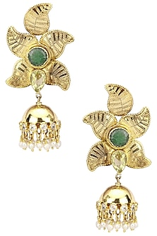 Gold Plated Jhumki Drop Textured Earrings by Anjali Jain