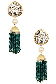 Antique Gold Finish Polki Tassel Earrings by Anjali Jain
