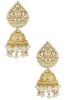 Gold Finish Polki Paan Textured Jhumki Earrings by Anjali Jain
