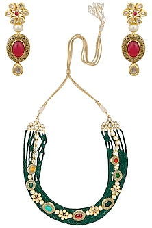 Antique Gold Finish Textured Navratan Necklace Set by Anjali Jain