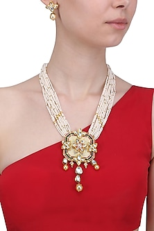 Gold Finish Polki Square Pendant Necklace by Anjali Jain