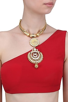 Gold Finish Polki Double Pendant Tusk Choker Necklace by Anjali Jain