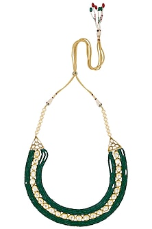 Gold Finish Green and Polki Line Stone Multilayer Necklace by Anjali Jain