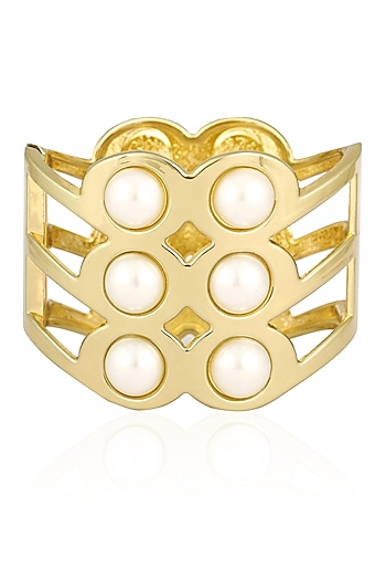 Gold Finish Big Pearls Round Cuff by Aurum Chakra