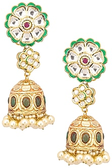 Antique Gold Finish Polki and Pearl Jhumki Earrings by Anjali Jain