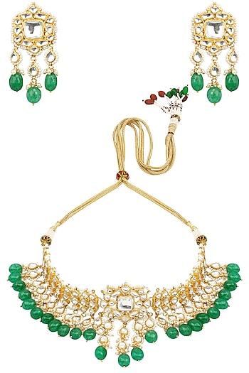 Gold Finish Kundan Stone and Green Stone Choker Necklace Set by Anjali Jain