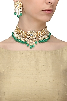Gold Finish Kundan Stone and Green Stone Choker Necklace Set by Anjali Jain