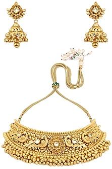 Antique Gold Finish Kundan Stone Bird Choker Necklace Set by Anjali Jain