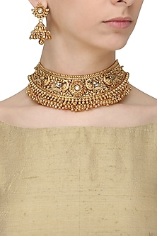 Antique Gold Finish Kundan Stone Bird Choker Necklace Set by Anjali Jain