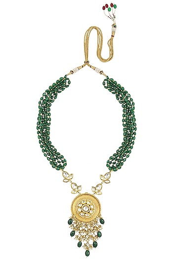 Gold Finish Kundan Stone Green Beads Necklace Set by Anjali Jain