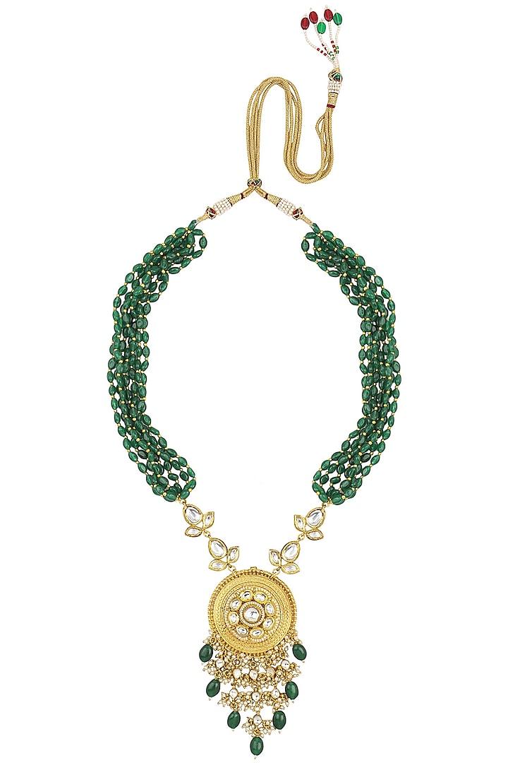 Gold Finish Kundan Stone Green Beads Necklace Set by Anjali Jain Jewellery