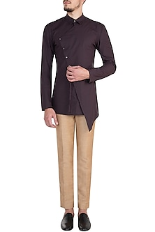 Marsala Asymmetrical Shirt by Rishta By Arjun Saluja Men
