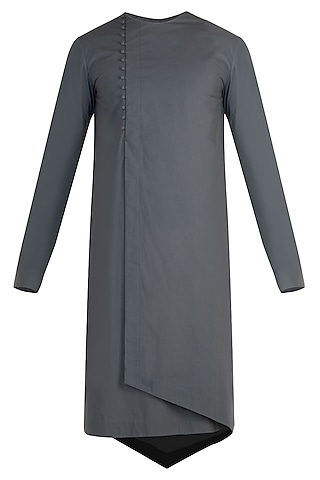 Grey wrap asymmetrical kurta by Rishta by Arjun Saluja Men