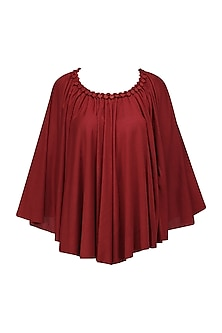 Red Embellished Poncho by Anuj Sharma