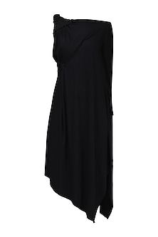 Black Embellished One Shoulder Draped Dress by Anuj Sharma