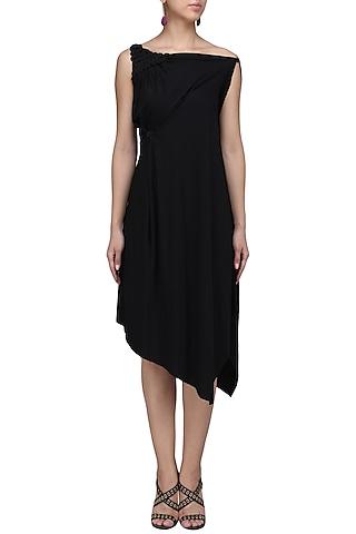 Black Embellished One Shoulder Draped Dress by Anuj Sharma