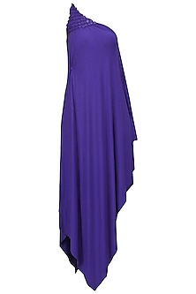 Royal Blue Embellished One Shoulder Draped Dress by Anuj Sharma