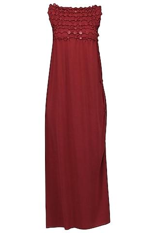 Red Embellished Maxi Dress by Anuj Sharma