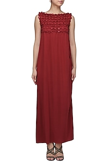 Red Embellished Maxi Dress by Anuj Sharma