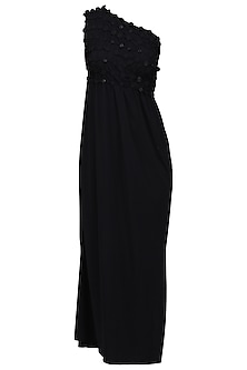 Black Embellished Maxi Dress by Anuj Sharma