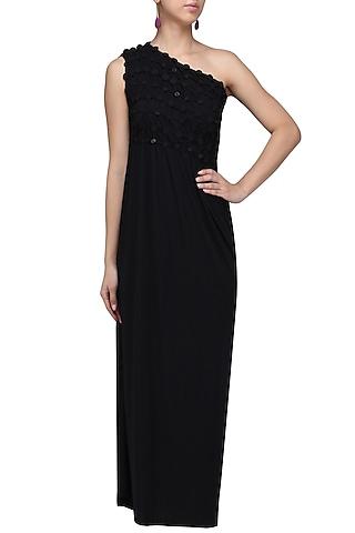 Black Embellished Maxi Dress by Anuj Sharma