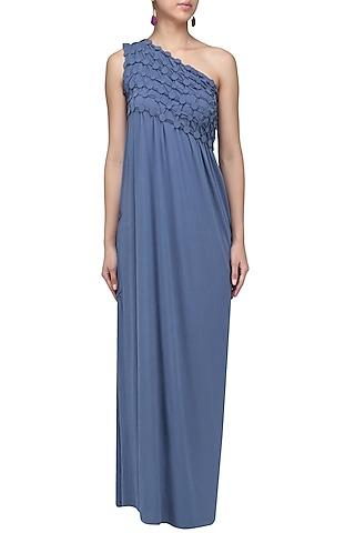 Royal Blue Embellished One Shoulder Maxi Dress by Anuj Sharma