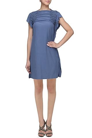 Royal Blue Embellished Knee Length Dress by Anuj Sharma