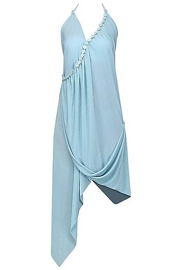 Light Blue Embellished Aysmmetric Dress by Anuj Sharma