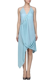Light Blue Embellished Aysmmetric Dress by Anuj Sharma