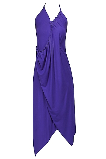 Royal Blue Embellished Asymmetric Halter Dress by Anuj Sharma