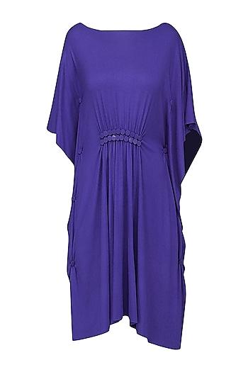 Royal Blue Pinched Waist Embellished Dress by Anuj Sharma