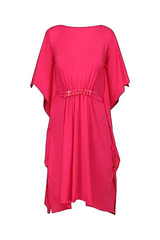 Pink Pinched Waist Embellished Dress by Anuj Sharma