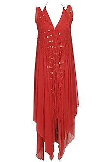 Red sequins work halter dress by Anuj Sharma