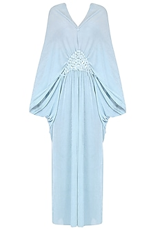 Sky Blue Half Moon Poncho Dress by Anuj Sharma