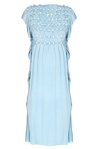 Sky Blue Ruffled Shift Dress by Anuj Sharma
