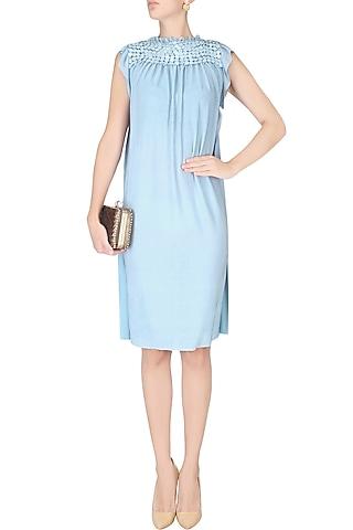 Sky Blue Sequinned Shift Dress by Anuj Sharma