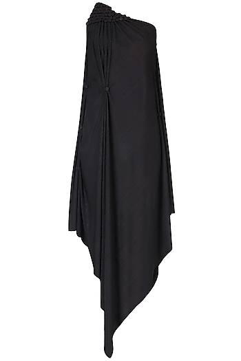 Black Asymmetric One Shoulder Dress by Anuj Sharma