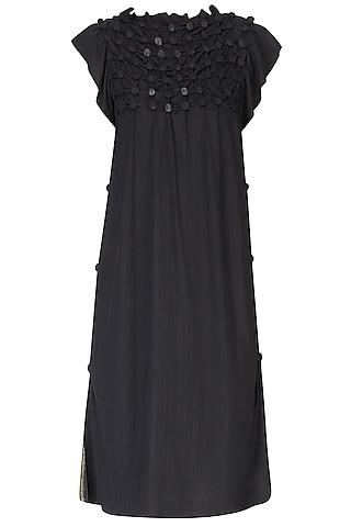 Black Sequinned Shift Dress by Anuj Sharma
